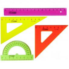 Набор чертежный малый (треуг. 2шт., линейка 16см, транспортир) цветной