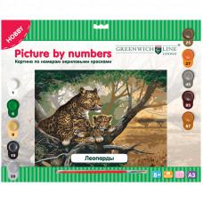"""Картина по номерам А3 """"Леопарды"""" с акриловыми красками"""