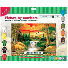 """Картина по номерам А3 """"Осений пейзаж"""" с акриловыми красками"""