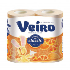 """Туалетная бумага 2-х сл. 4шт/уп желтая Veiro """"Classic"""" Оранжевое небо"""