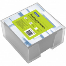 Блок для записей 90х90х50 мм белый в прозрачной подставке OfficeSpace