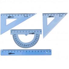 Набор чертежный малый (треуг. 2шт., линейка 15см, транспортир) прозрачный тонированый