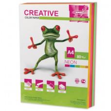 Бумага CREATIVE color (Креатив), А4, 80 г/м2, 250 л. (5 цв. х 50 л.), цветная неон, БНpr-250r