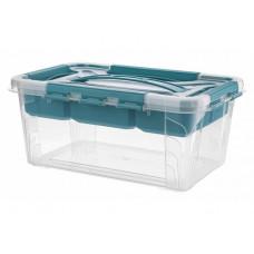 Ящик универсальный с замками и вставкой - органайзером 4,2л