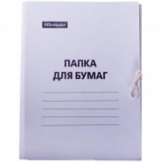 Папка для бумаг с завязками 220г/м2, картон немелованный, белый  OfficeSpace