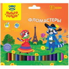 """Фломастеры 18 цв """"Енот во Франции"""", картон. уп., европодвес"""