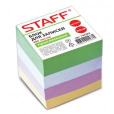 Блок для записей 80х80х72 мм цветной проклеенный STAFF, 800 листов, чередование с белым
