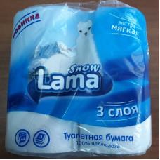Туалетная бумага 3-х сл. 4шт/уп LAMA Snow целлюлоза