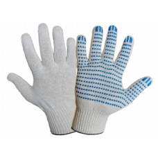 Перчатки ХБ 5 нитей 10 класс с ПВХ точка