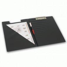 Папка-планшет , с верхним прижимом и крышкой, А4, картон/ПВХ,  черная, BRAUBERG
