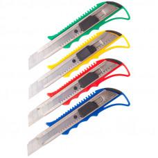 Нож 18 мм канцелярский OfficeSpace, усиленный,с фиксатором, металл. направляющие, ассорти, европодв