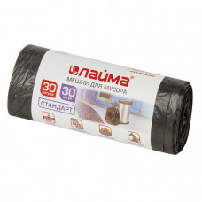 Мешки для мусора 30 л, черные, в рулоне 30 шт., ПНД, 8 мкм, 50х60 см (±5%), стандарт, ЛАЙМА