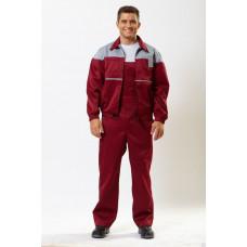Костюм мужской летний Универсал куртка/полукомбинезон бордовый/серый (размер 52-54, рост 182-188)