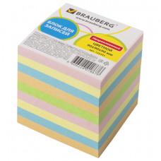 Блок для записей 90х90х90 мм цветной непроклеенный BRAUBERG