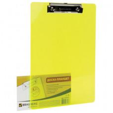 """Планшет с зажимом  А4, 22,6х31,5 см, пластик, 2 мм, неоновый желтый BRAUBERG """"Energ"""