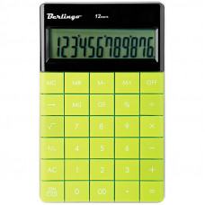 Калькулятор настольный 12 разр Berlingo , двойное питание, 165*105*13 мм, зелёный