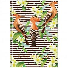 """Блокнот А5 80л. 7БЦ OfficeSpace """"Цветы. Birds and stripes"""", глянцевая ламинация, выб. УФ-лак, тв.обл"""