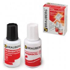 Набор BRAUBERG: корректирующая жидкость + разбавитель, 20+20 мл, 220454