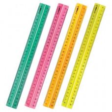 """Линейка 30 см пластик СТАММ """"Neon Cristal"""", с держателем, неоновая, ассорти,"""