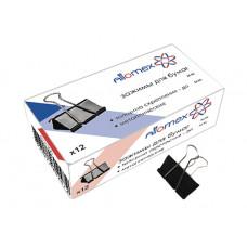 Зажимы д/бумаг 25 мм, 12шт/уп черные Attomex