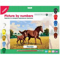"""Картина по номерам А3 """"Лошади"""" с акриловыми красками"""