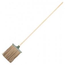 Метла синтетическая плоская с деревянным черенком 110 см, рабочая часть 38х26 см, еврорезьба, №3