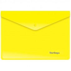 Папка-конверт на кнопке A5+ 180мкм , желтая Berlingo