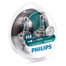 Галогенная автомобильная лампа Philips X-treme Vision H4 12V-60/55W (P43t) (+130% света) (2шт) 12342