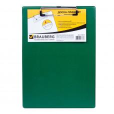 "Планшет с зажимом  А4, 22,8х31,8 см, картон/ПВХ, зеленый BRAUBERG ""NUMBER ONE"""