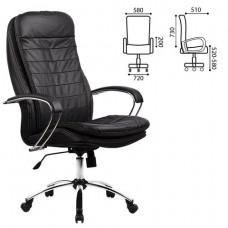 """Кресло офисное МЕТТА """"LK-3CH"""", кожа, хром, черное"""