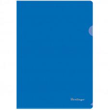 Папка-уголок А4 180мкм, прозрачная синяя Berlingo