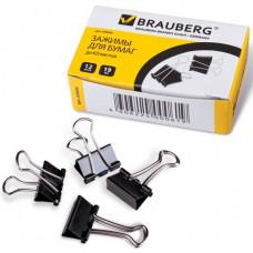 Зажимы д/бумаг 19 мм 12 шт/уп., BRAUBERG, комплект , на 60 л., черные, в картонной коробке,