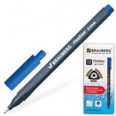 """Ручка капиллярная (линер) BRAUBERG """"Carbon"""", СИНЯЯ, металлический наконечник, трехгранная, линия пис"""