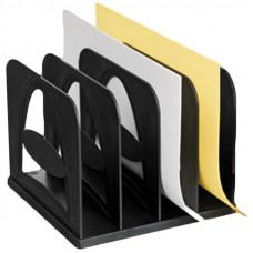 Лоток-сортер вертикальный Стамм, сборный, 4 отделения, черный