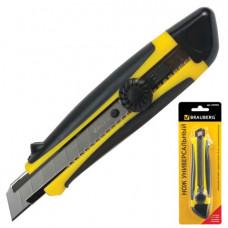 Нож 18 мм универсальный BRAUBERG  роликовый фиксатор, с резин. вставк., блистер