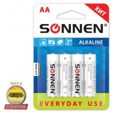 Батарейка SONNEN, AA (LR6), КОМПЛЕКТ 4шт., АЛКАЛИН, в блистере, 1.5В