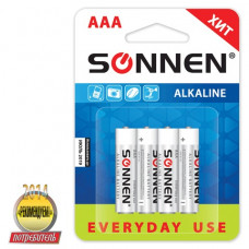 Батарейка SONNEN, AAA (LR03), КОМПЛЕКТ 4шт., АЛКАЛИН, в блистере, 1.5В
