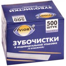 Зубочистки бамбуковые Aviora, 500шт., в индивидуальной бумажной упаковке