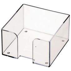 Подставка для бумажного блока 9х9х5 см  прозрачная СТАММ пластиковая
