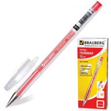 "Ручка гелевая красная 0,5 мм. BRAUBERG ""Jet"", корпус прозрачный, толщина письма"