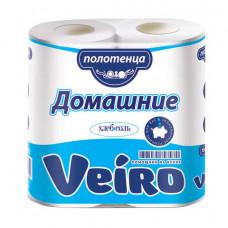 "Полотенца бум. Veiro ""Домашние"", 2-х слойн., 12,5м/рул, белые, 2шт."
