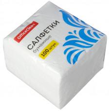 Салфетки бумажные 100шт, 23*23см, OfficeClean, 1 слойн., 23*23см, белые